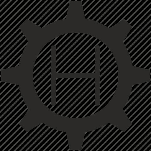 gear, h, key, keyboard, letter icon