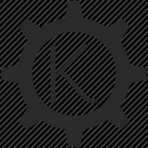 gear, k, key, keyboard, letter icon