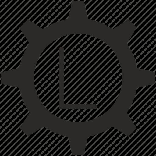 gear, key, keyboard, l, letter icon