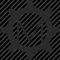 gear, key, keyboard, letter, m icon