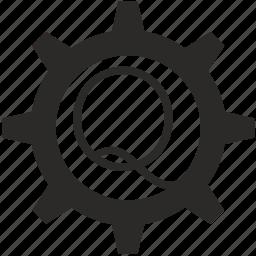 gear, key, keyboard, letter, q icon