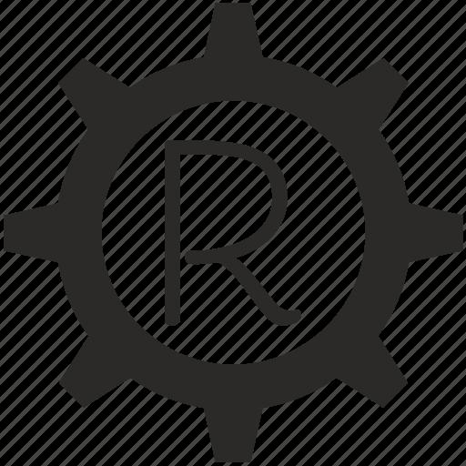 gear, key, keyboard, letter, r icon