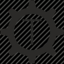 gear, key, keyboard, letter, t icon