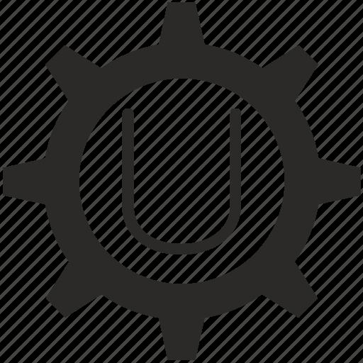 gear, key, keyboard, letter, u icon
