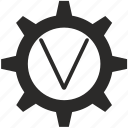gear, key, keyboard, letter, v icon