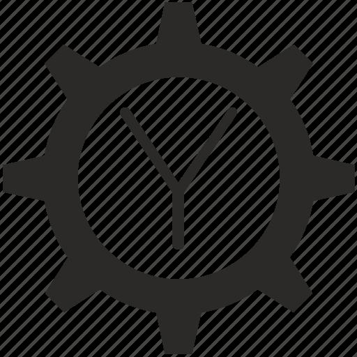 gear, key, keyboard, letter, y icon