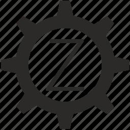 gear, key, keyboard, letter, z icon