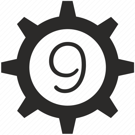 gear, keyboard, nine, number icon