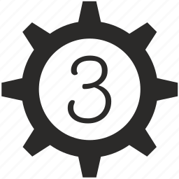 gear, keyboard, number, three icon