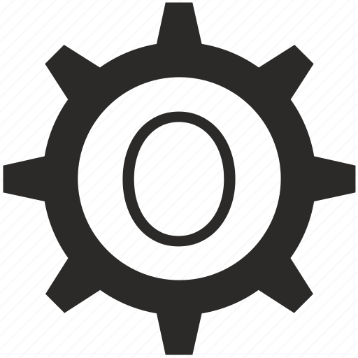gear, keyboard, number, zero icon