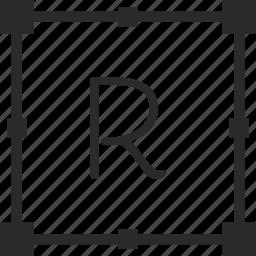 key, keyboard, letter, r, transform icon