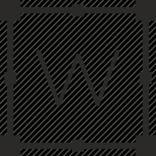 key, keyboard, letter, transform, w icon
