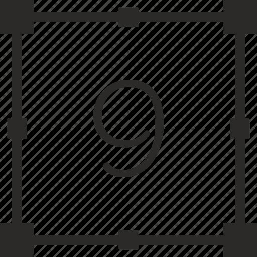 keyboard, nine, number, transform icon