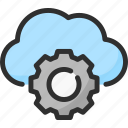 cloud, cogwheel, option, options, parameter, preferences, settings icon