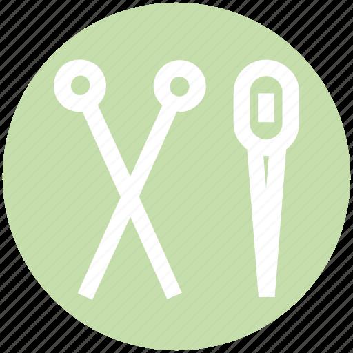 edit, needle, scissor, sewing, tailoring, thread icon
