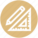 design, measure, pencil, ruler, sewing, tailoring icon