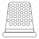 craft, equipment, handmade, line, outline, thimble, tool icon
