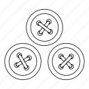 buttons, cloth, fashion, line, outline, sewing, tailor icon
