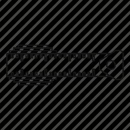 centimeter, line, measuring, outline, precision, roll, ruler icon