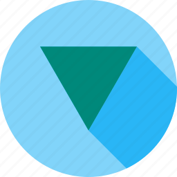 design, geometry, graphic, inverted, pyramid, shape, triangle icon