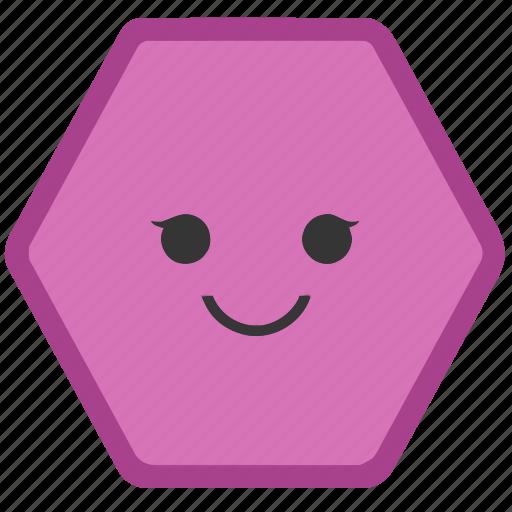 emoji, emoticons, face, hexagon, shapes, smile, smiley icon