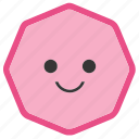 emoji, emoticons, face, octagon, shapes, smile, smiley icon