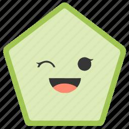 emoji, emoticons, face, pentagon, shapes, smiley, wink icon