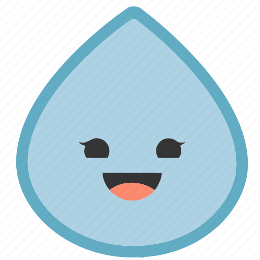 emoji, emoticons, face, happy, raindrop, shapes, smiley icon