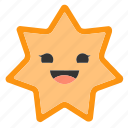 emoji, emoticons, face, happy, shapes, smiley, star icon