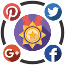 award, media, send, share, social icon