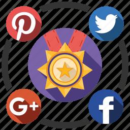 award, media, send, share, social icon