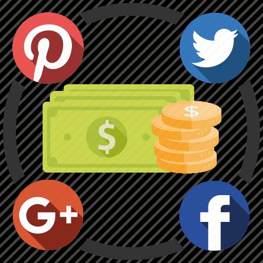 earn, media, send, share, social icon
