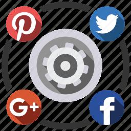media, send, settings, share, social icon