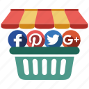 media, send, share, shop, social icon