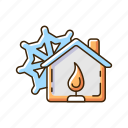 warming center, heated facility, extreme weather, storm shelter icon
