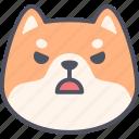 angry, dog, emoticon, shiba inu, emoji, emotion, expression