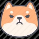 angry, dog, emoticon, shiba inu, emoji, expression, feeling