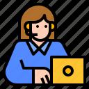 call, center, laptop, customer, service icon