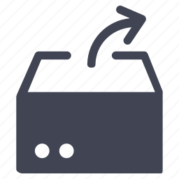 arrow, box, crate, extract, package, shipping icon
