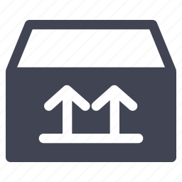 arrows, box, package, right, shipping, up, way icon
