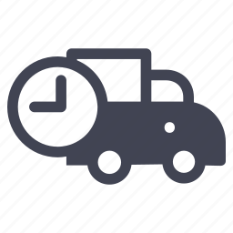 clock, shipping, time, transportation, truck, vehicle icon
