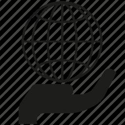 global, globe, hand, hold, world icon