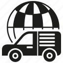 car, delivery, global, globe, logistic, transport, van icon