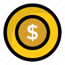 cash, currency coin, dollar coin, money, wealth icon