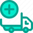 add, car, delivery, plus, shipping icon