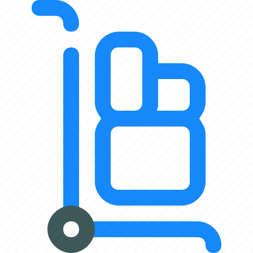 box, delivery, package, trolley icon