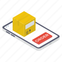mobile cargo, mobile purchase, online delivery, online order, order booking icon