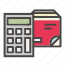 box, calculator, cardboard, delivery, package, shipment, shipping icon