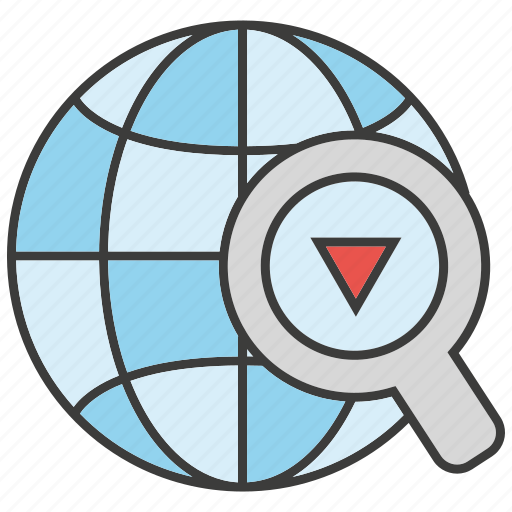 globe, gps, location, magnifier glass, search, tracking, world icon