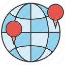 globe, location, pin, world icon